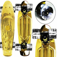 "GOLD / SWIRL WHEELS Mini 22"" Retro Cruiser PENNY STYLE SkateBoards NEW!"