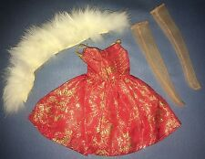 Ideal Tammy Family Fur N Formal #9176-9 #9952-3 Red Gold Dress Fur Stole Nylon