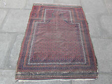 Antique Shabby chic Hand Made Afghan Baluch Wool Red Rug 150x112cm Prayer Rug
