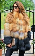 NEW MULTI COLOR SAGA FOX FUR COAT JACKET FIRE GOLD Black Red Fox size M -6-10