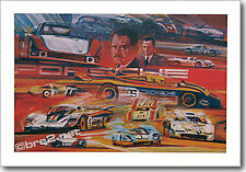 "REDUCED Porsche Race Cars 25""x17.5"" signed by artist George Bartell"