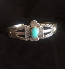 JP Jane Popovich Child Small Sterling Silver Cuff Bracelet Turquoise Harvey Era