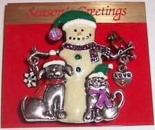 ''  SNOWMAN AND FRIENDS  ''   BROOCH  PIN