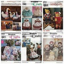 Six Vtg Simplicity Craft Doll Toy Sewing Patterns Goose Bear Bunny Stuffed Uncut