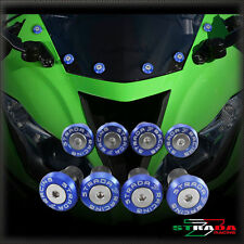 Strada 7 Racing CNC Windshield Screws Fairing Kit 8pc Kawasaki ZX9 ZX9R Blue