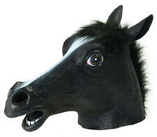 BLACK DEATH APOCOLYSPE HALLOWEEN HORSE HEAD PONY LATEX BEAUTY COSTUME MASK NEW