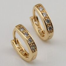 Gorgeous White CZ Fashion Jewelry Gift Gold Filled Huggie Earrings e1101