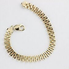 Men Women 925 Sterling Silver Gold Plated Heavy Italy Bracelet Panther Link 9""
