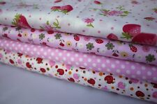 "4 pcs 12"" x 8"" 100% COTTON PATCHWORK FABRIC Pink Strawberry m4"