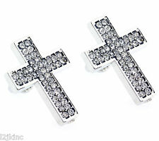 Mens Silver Finished Big Cross Lab Cz Studs Screw Back Stud Earrings