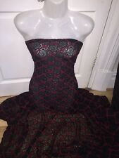 """5 MTR (NEW) BLACK/RED 4 WAY LYCRA STRETCH DIAMOND SHAPE LACE FABRIC...60"""" WIDE"""