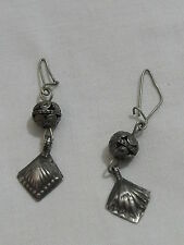 Antique Judaica Yemenite Middle East handmade Silver earrings Jewelry (mo)