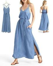 GAP Double Strap Tencel Maxi Dress Women's Size L Light Chambray NEW with TAG