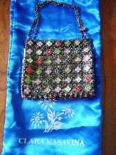 Clara Kasavina Swarovski Crystal Bronze Mesh Small Handbag Purse Bag