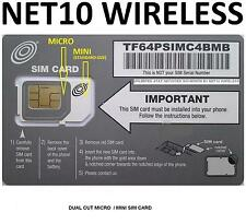 * NET10 DUAL MICRO + MINI SIM CARD AT&T Compatible + Unlimited Service $35 Mo