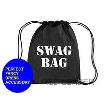 SWAG BAG Printed Gymsac Black Funny Thief Burglar Fancy Dress Costume Hen Party