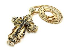 Chunky Filigree Cross Iced Out Crystal Franco Chain Hip Hop Jesus Bling Pendant