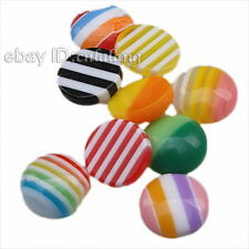 200x Hot Mixed Stripe Round Stick-on Flatback Resin Stud Earring Beads On Sale L