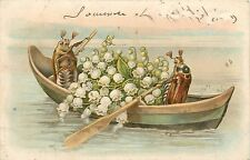 Vintage 1900s beetle bugs couple boat romance lily of the valley flowers muguets