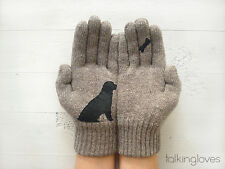 Artist Handmade Womans Kids Knit GLOVES Mittens DOG BONE Beige Wool Angora