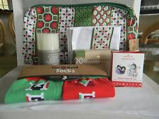 HALLMARK 2016 HOLIDAY VIP GIFT BAG - TOWEL, SOCKS, CANDLE, SOAP, 2 ORNAMENTS