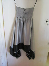 Shiny Satin Feel Vila Silver - Grey & Black Party Dress Size S / 4 - 6 - 8 - NWT