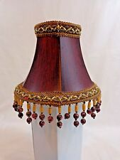 "Small Lamp Shade 6"" Burgundy Wood Grain Fabric Bead Fringe Clip On"