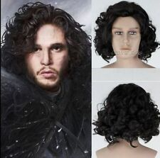 Game of Thrones Jon Snow Short Black Curly Wig Synthetic Cosplay Anime Wig