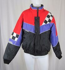 Vintage Joe Rocket Checkered Flag Loud Snowmobile Racing Jacket Parka Mens M