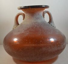 Vintage Seguso Murano Art Glass Vase in Orange Scavo