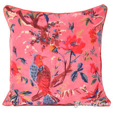 Floral Birds Pattern Velvet Pink Throw Pillow Case Cushion Cover Home Sofa Decor