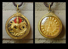 BUDDHA W/ DRAGON BUDDHIST THAI AMULET PENDANT GOLD RED & BLACK