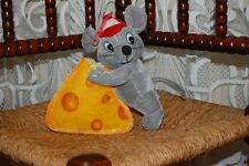 Vintage Gray Mouse with Cheese Plush Toy Pyramide Netherlands