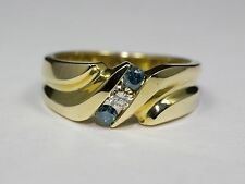 14k Yellow gold Mens Blue And White Diamond Ring Size 9.5