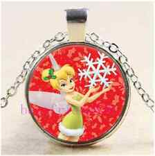 Tinker Bell With Snowflake Cabochon Glass Tibet Silver Pendant Necklace