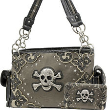 W28 PEWTER SKULL HANDBAG AND WALLET SET RHINESTONE CONCEALED CARRY WEAPON