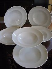 """6 FORTESSA PASTA/SOUP BOWLS Fine Porcelain 10-3/4"""" Rimmed Vintage Germany Estate"""
