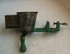 Vintage Lorraine Metal Mfg Co Cast Green Wood Handle Grater Shredder