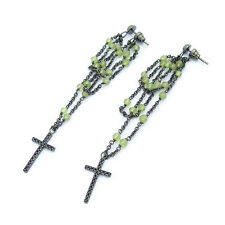 Emporio Armani Sterling Silver Cross Black Stone Earrings  $175