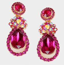 "2"" Long Pink Fuchsia Dangle Pageant Wedding Rhinestone Crystal Gold Earrings"