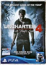 UNCHARTED 4 : A THIEF'S END VIDEOGAME SUPERB DOUBLE-SIDED PROMO POSTER brand new