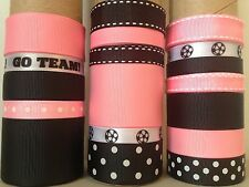 LOT OF 18 YDS. OF GROSGRAIN RIBBON  -  BLACK / PINK   / SOCCER  -  B0780
