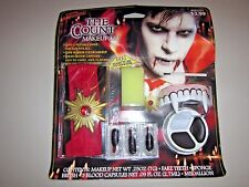Halloween Complete Vampire Costume Makeup Kit w Teeth, Blood Capsules & Necklace