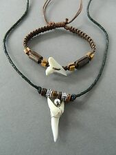 SHARK TOOTH NECKLACE BRACELET WRISTBAND MENS JEWELLERY SET sharks teeth surf