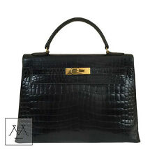Hermes Kelly Bag 32cm Shiny Porosus Crocodile - Black GHW - 100% Authentic