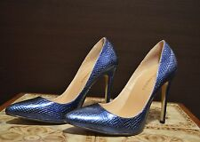 Ladies blue shoes holographic unusual shiny party casual heels sz 5