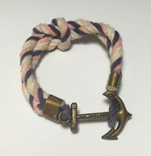 Kiel James Patrick Square Knot Rope Bracelet Anchor Navy Pink Nautical Small S