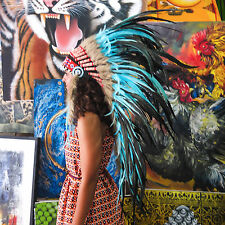 HANDMADE CHIEF INDIAN HEADDRESS 95CM FEATHERS Native American Costume war bonnet