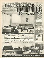 Publicité Advertising 1965 Meubles CROZATIER haut standing salon salle à manger