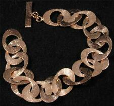 "Brushed Textured Solid Copper Oval Round Hole Chain Bracelet 6 3/4"" - 8"""